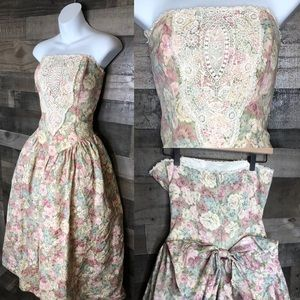 Vintage Scott McClintock Floral Lace Prairie Dress